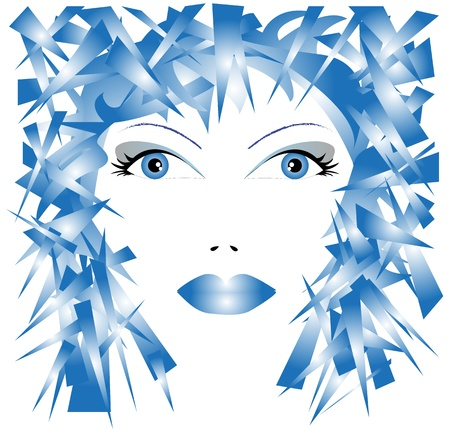 illustration of woman's face in shades of blue Vector