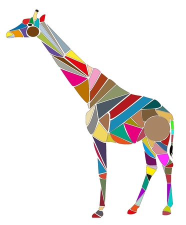 Vector illustration of giraffe created with color parts Illustration