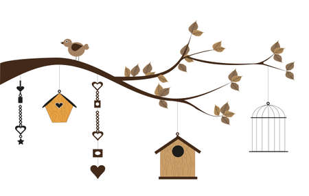 romantic postcard with bird houses and decorations