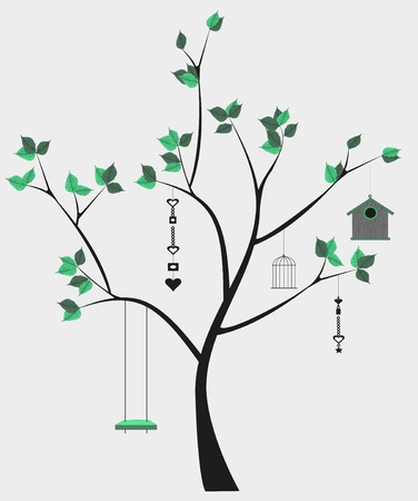 illustration of isolated tree with swing and decorations Stock Vector - 19862682