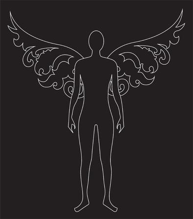 黒の背景上の天使の様式化されたシルエット  イラスト・ベクター素材