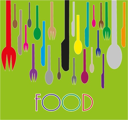 Multicolored cutlery on green background Stock Vector - 19862688