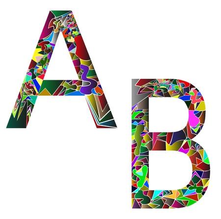 Buchstaben A und B zusammengesetzt wie ein Puzzle Illustration