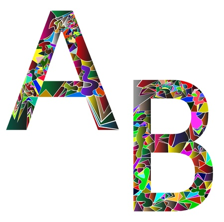 letter A and B composed like a puzzle Illustration