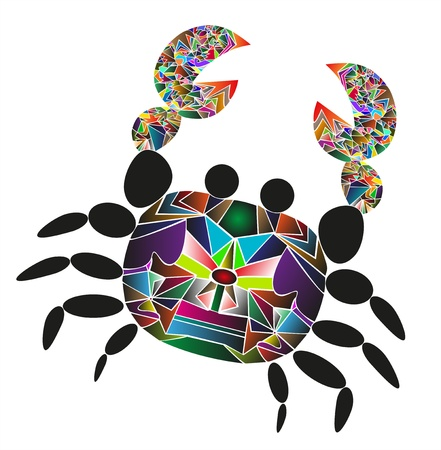 crab vector designed as a puzzle