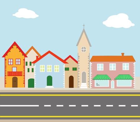 un: illustrazione di un piccolo paese attraversato da una strada