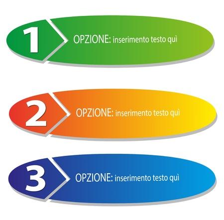 vettoriale: illustrazione vettoriale, tre gradini numerati in diversi colori
