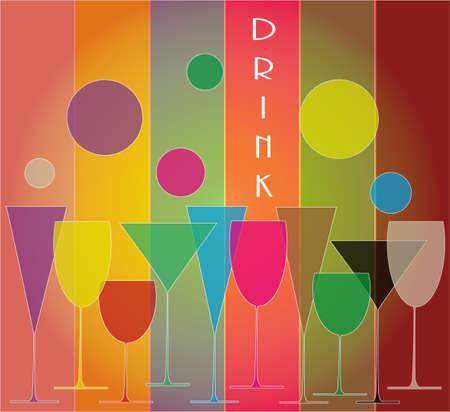icona: set di bicchieri colorati