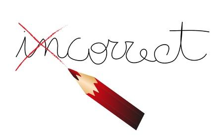 red pencil that fixes a concept Ilustração