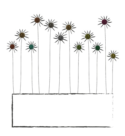 Abstract frame with flowers and space for text