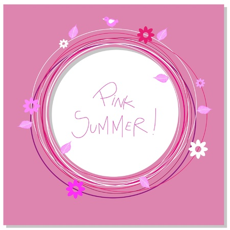 pink frame with leaves and flowers and space for text Illustration