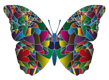 butterfly made of colors isolated on white background Illustration