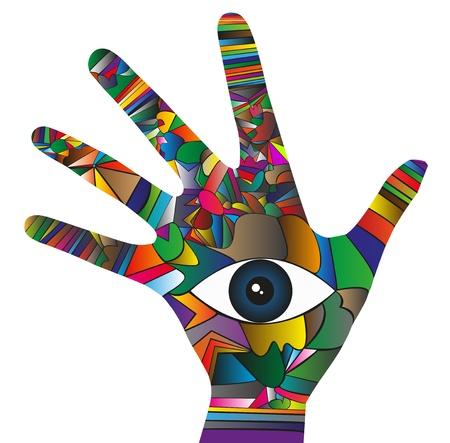 Illustration von Hand mit Auge in der Mitte