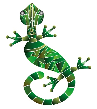 illustration of gecko made from green color