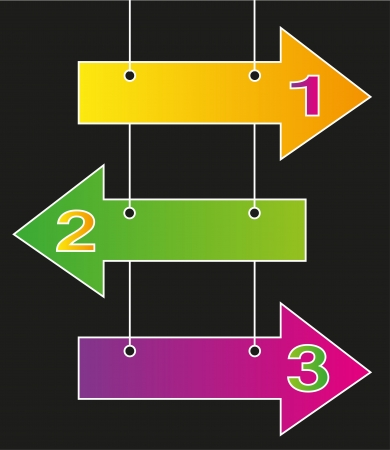 3 arrows in different colors and space for text Illustration