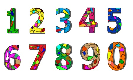 series of numbers decorated with squiggles and colors