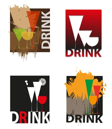 Set of logos with various glasses