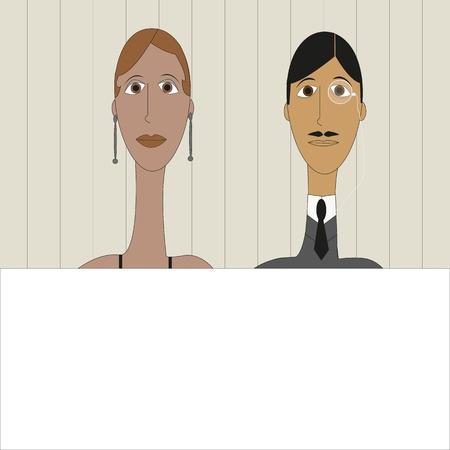 Charaktere Vintage-Stil mit Rahmen f�r Ihren Text