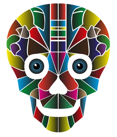 Skull created by color,  isolated on white background Illustration