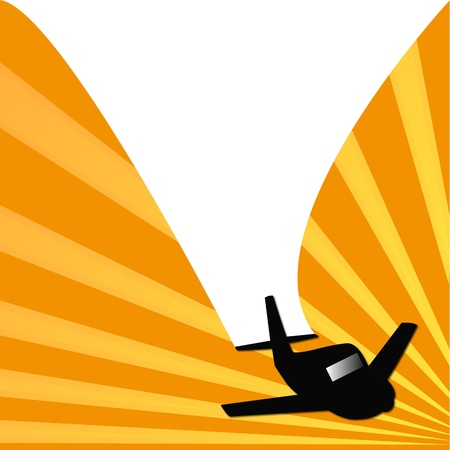 illustration of plane that opens a frame with the wake Illustration