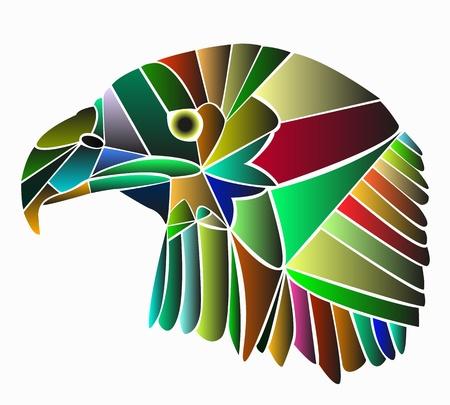 su: Aquila  Fatto di colori Isolato su sfondo bianco Illustration
