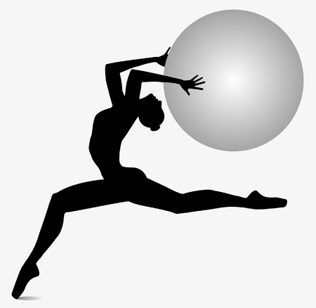silhouette of dancer who dances with ball in his hands Vector