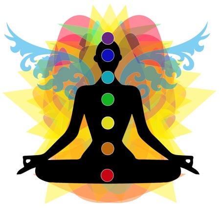 silhouette in posa yoga e Punti chakra Ilustração