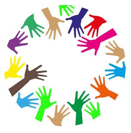 Mani colorate creano il Che Una cornice