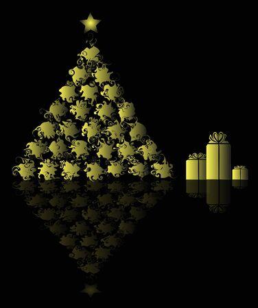 albero: astratto albero di Natale con confezioni regalo Illustration