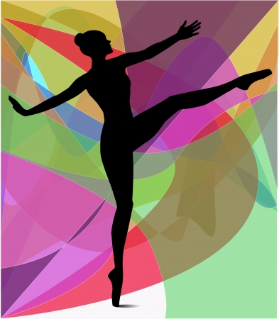 抽象的な背景のダンサーのシルエット  イラスト・ベクター素材