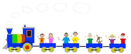 locomotiva colorato con bambini felici a bordo Vector Illustration