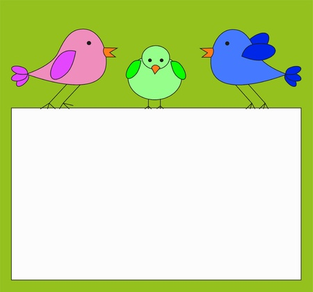 nota: Gruppo di famiglia di Uccelli Che poggia su telaio