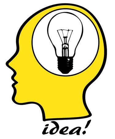 testa: Concetto di idea, silhouette testa con la lampadina
