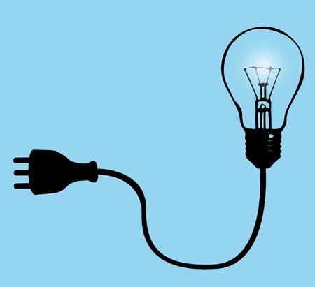 vettoriale: Illustrazione vettoriale con la lampadina e spina per la Corrente