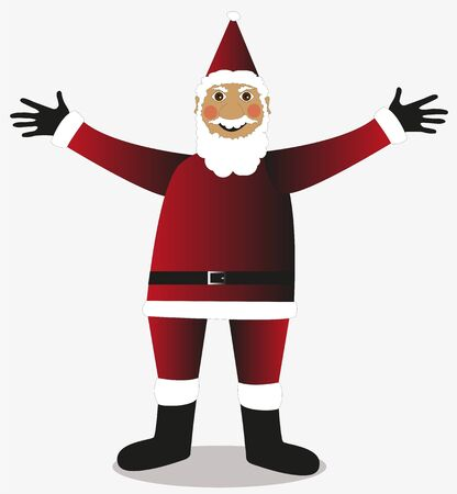 su: Babbo Natale isolato su sfondo bianco Illustration