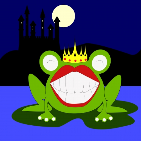 the frog prince on the lake in the night Stock Vector - 21165032