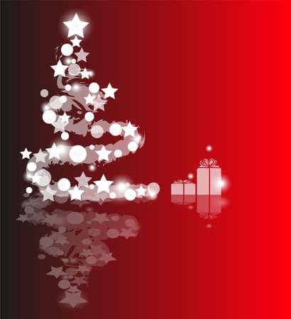 Weihnachtsbaum mit Lichtern und Sternen auf rotem Hintergrund gebildet Illustration