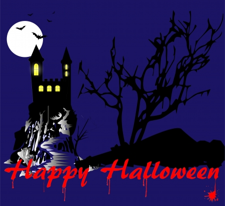 grim for halloween illustration with castle Stock Vector - 21305342