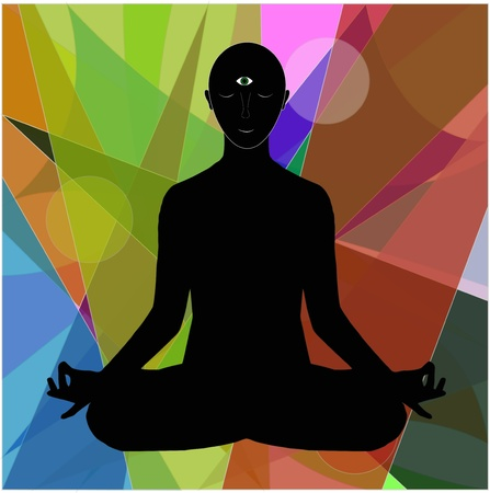 human figure who meditates on abstract background Stock Vector - 21329167