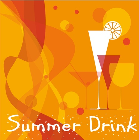 abstract summer background with cocktail glasses