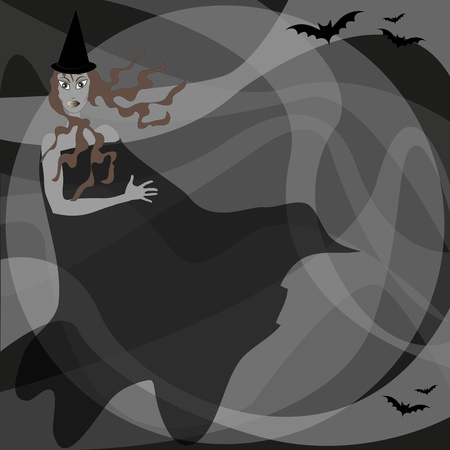 macabre: witch with bats on background macabre abstract