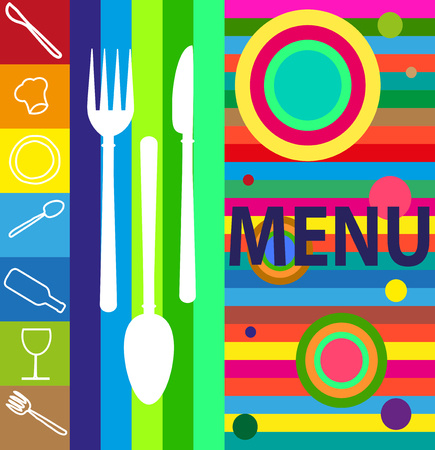 Illustration of UN menu with various symbols with pop colors
