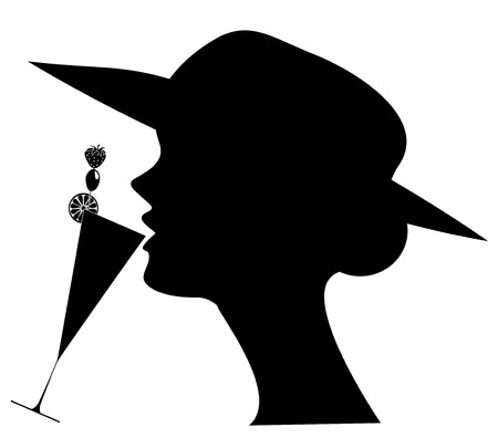 silhouette of woman drinking cocktail