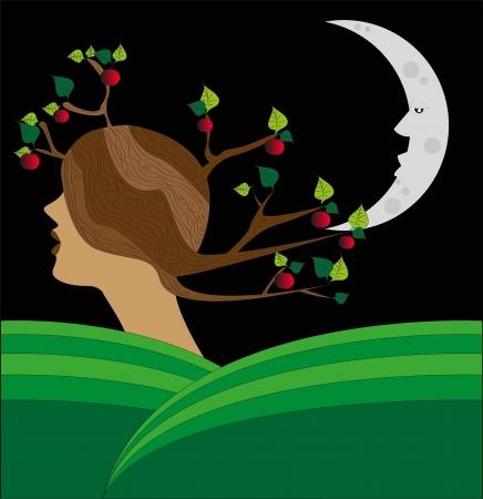 albero: paesaggio surreale della donna il Che SI Trasforma in Un albero