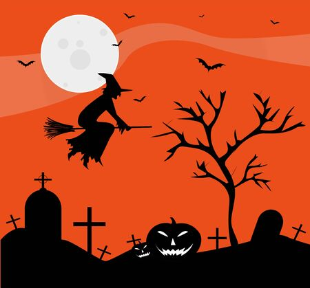 Illustration with witch and pumpkins for Halloween Stock Vector - 23079108