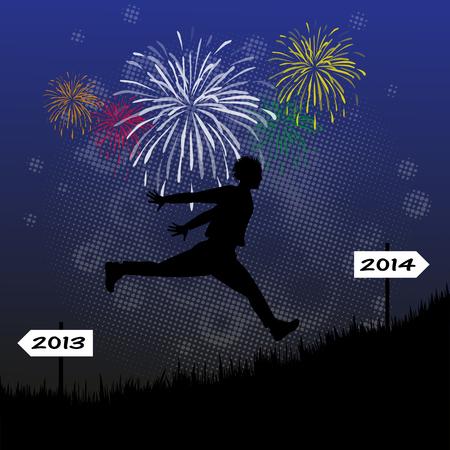 anno: Silhouette Maschile Corsa Verso il 2014 Illustration