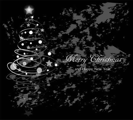 Greeting card for Christmas and New Year on grunge background