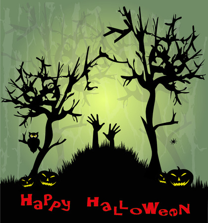 Illustration for Halloween with pumpkins Stock Vector - 23083083