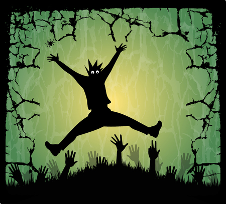 Illustration for Halloween with his hands emerging from the ground Stock Vector - 23083324
