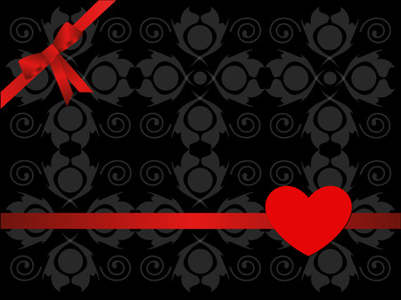 illustration with bow and heart on abstract background